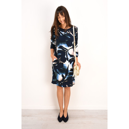 Sandwich Clothing Shadow Leaf Print Dress  - Blue