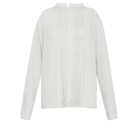 Great Plains Cotton Frill Neck Blouse - Grey