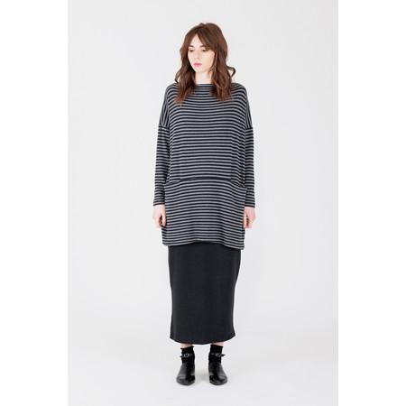 Mama B Oversized Gijon Stripe Knit Top - Grey