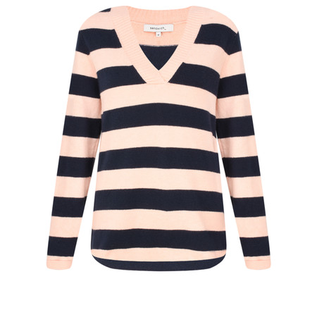 Sandwich Clothing Striped V-Neck Jumper - Orange