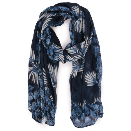 Sandwich Clothing Victoria Weave Fuzzy Flower Scarf - Blue