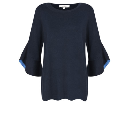 Sandwich Clothing Contrast Ruffle Sleeve Knitted Jumper - Blue