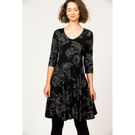 Myti by Myrine Flower Print Jersey Cooper Dress - Black