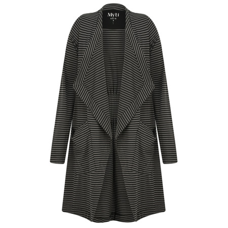 Myti by Myrine Striped Jersey Waterfall Stream Cardigan - Black