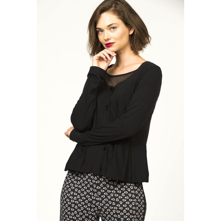 Myrine Velvet Button Jersey Cardigan - Black