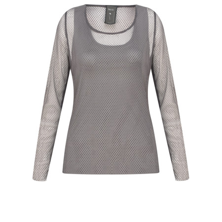 Myti by Myrine Velvet Dot Sheer Mesh Muse Top - Grey