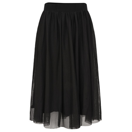 Myti by Myrine Velvet Dot Mesh Modern Skirt - Black