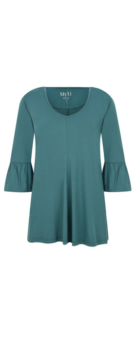Myti by Myrine Jersey Crepe Bell Sleeve Top 5A- Blue Peacock