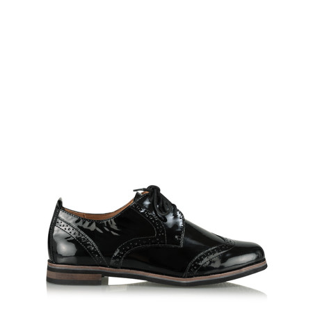 Caprice Footwear Rosa Patent Brogue Shoe - Black