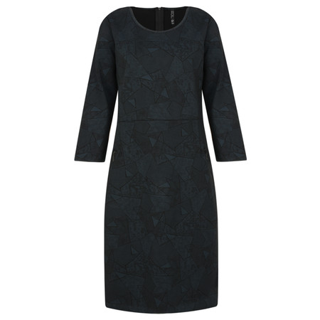 Foil Jersey Zips Dress  - Beige