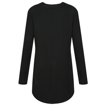 Foil Jersey Drape Back Top - Black