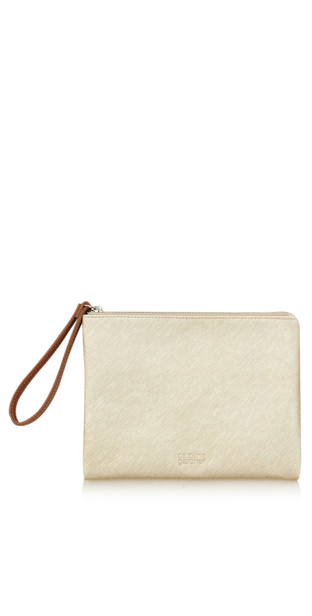 enjoy discount price save off top-rated official Gold Metallic Gold Wristlet Clutch Bag