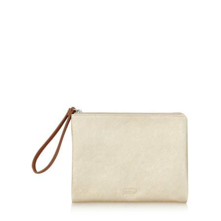 Caroline Gardner Metallic Gold Wristlet Clutch Bag - Gold