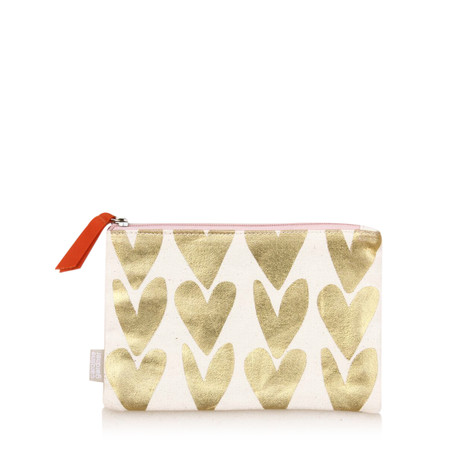 Caroline Gardner Metallic Hearts Canvas Pouch - Gold