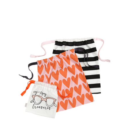 Caroline Gardner Hearts Drawstring Travel Bag Set - Multicoloured