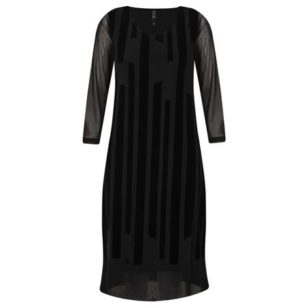 Foil Velvet Linear Dress - Black