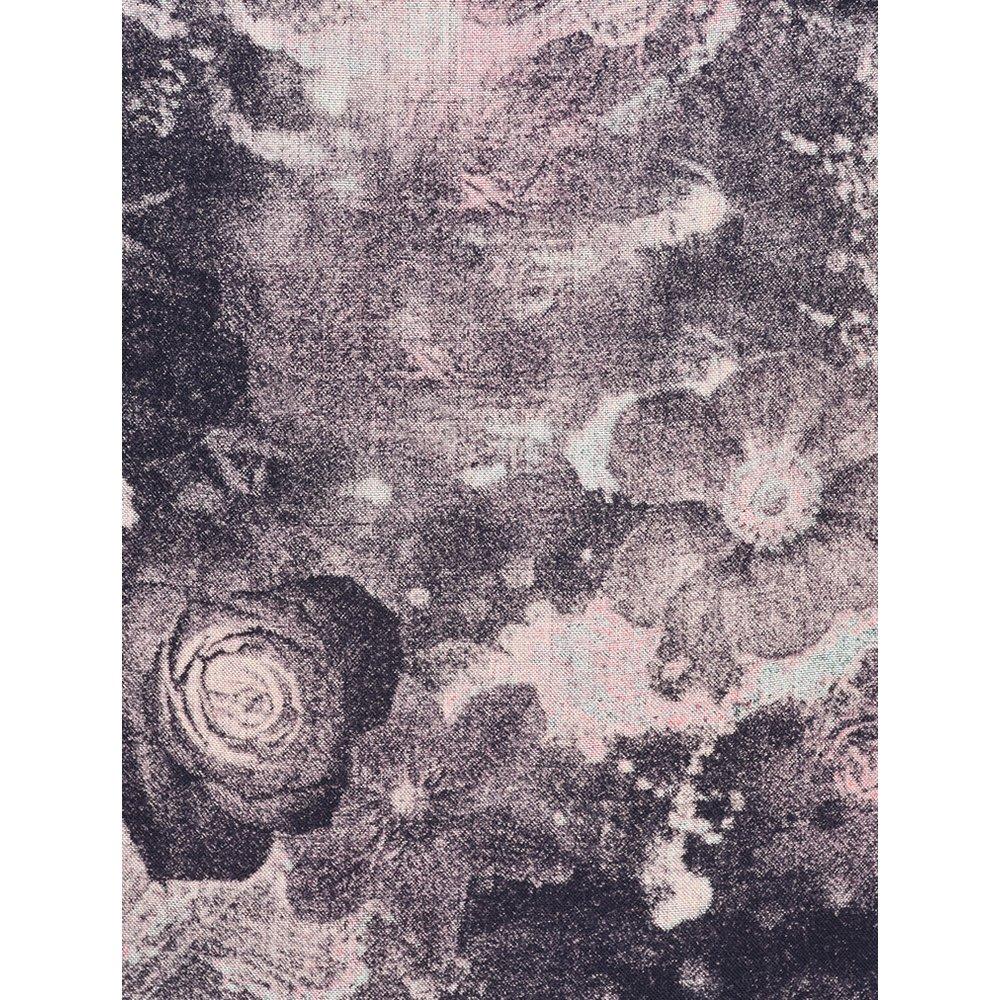 Foil Floral Printed Funnel sleeve Dress Dark Marble