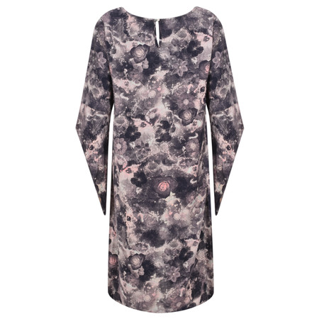 Foil Floral Printed Funnel sleeve Dress - Grey