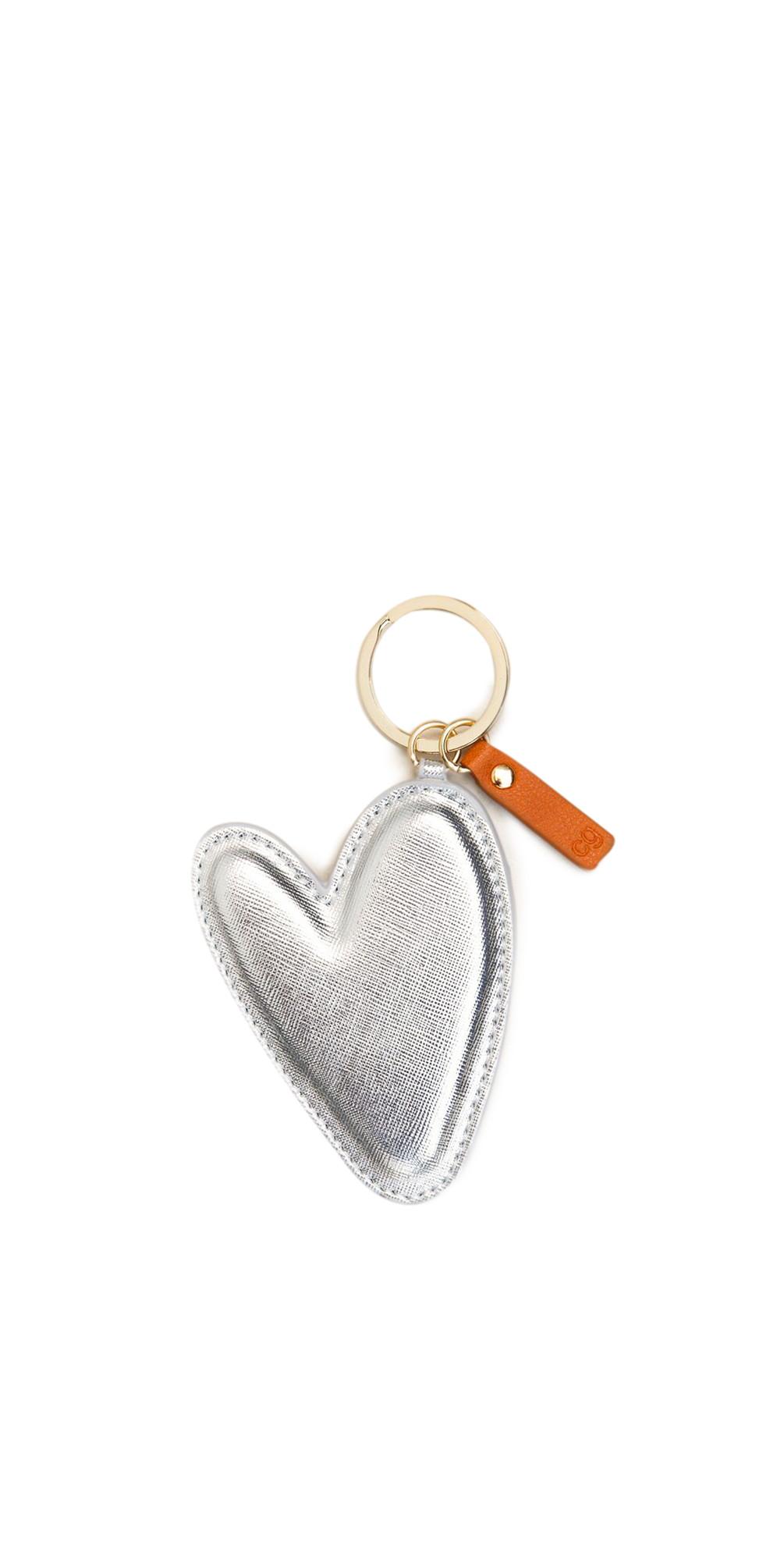 Large Silver Heart Padded Keyring main image