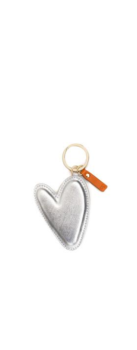 Caroline Gardner Large Silver Heart Padded Keyring Silver
