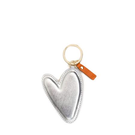 Caroline Gardner Large Silver Heart Padded Keyring - Metallic