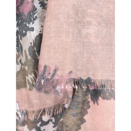 Foil Vintage Bold Floral Print Scarf - Pink