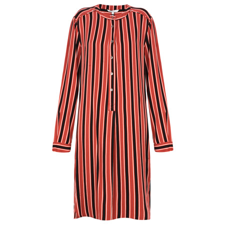 Sandwich Clothing Striped Flowy Dress with Tie - Red