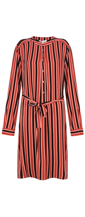Sandwich Clothing Striped Flowy Dress with Tie Brick Red