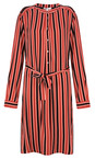 Sandwich Clothing Brick Red Striped Flowy Dress with Tie