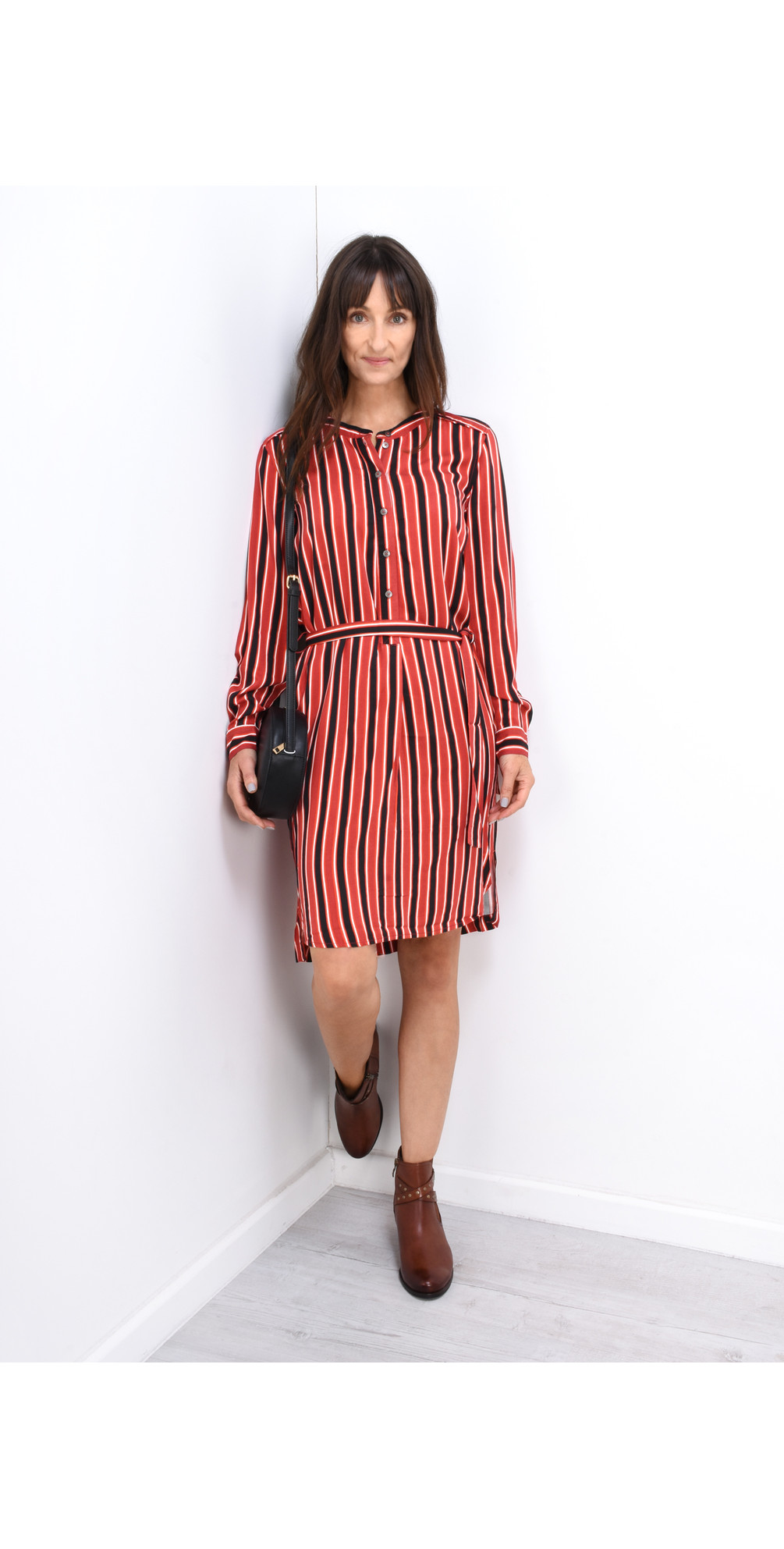 Striped Flowy Dress with Tie main image