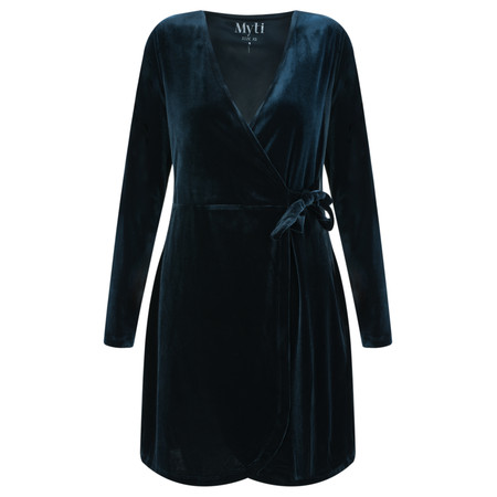 Myti by Myrine Velvet Wrap Dress - Black
