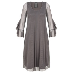 Myti by Myrine Velvet Dot Mesh Ruffled Sleeve Dress