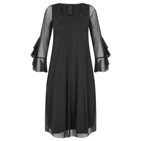Myti by Myrine Velvet Dot Mesh Ruffled Sleeve Dress - Black