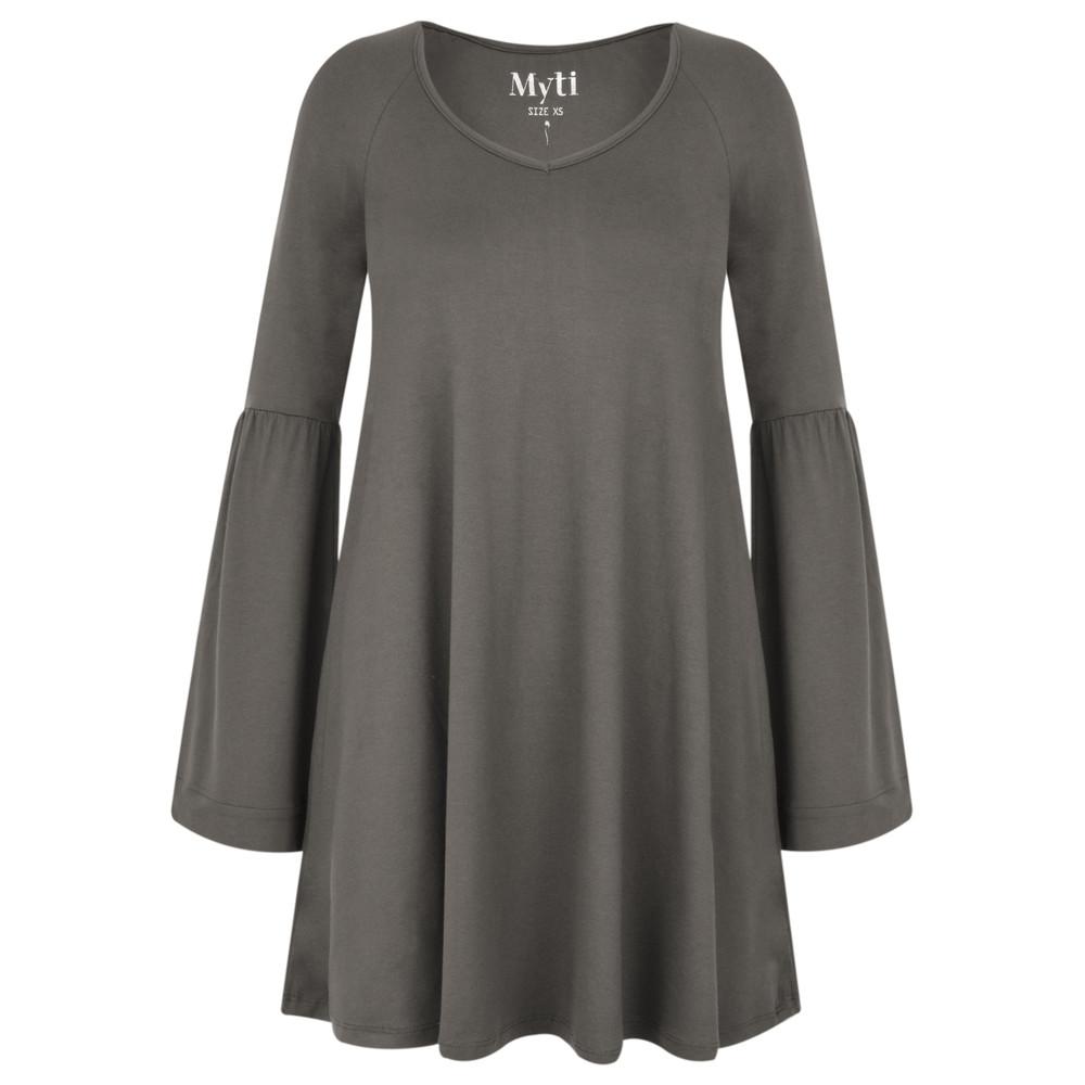 Myti by Myrine Wide Sleeve Jersey Crepe Top 2A- Stone Grey