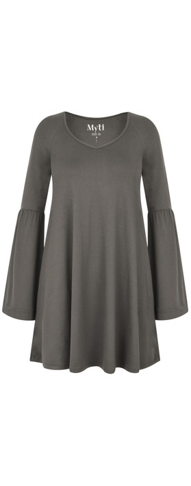 Myti by Myrine Wide Sleeve Jersey Crepe Top 2A- Stone Grey