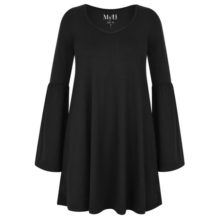 Myti by Myrine Wide Sleeve Jersey Crepe Top - Black