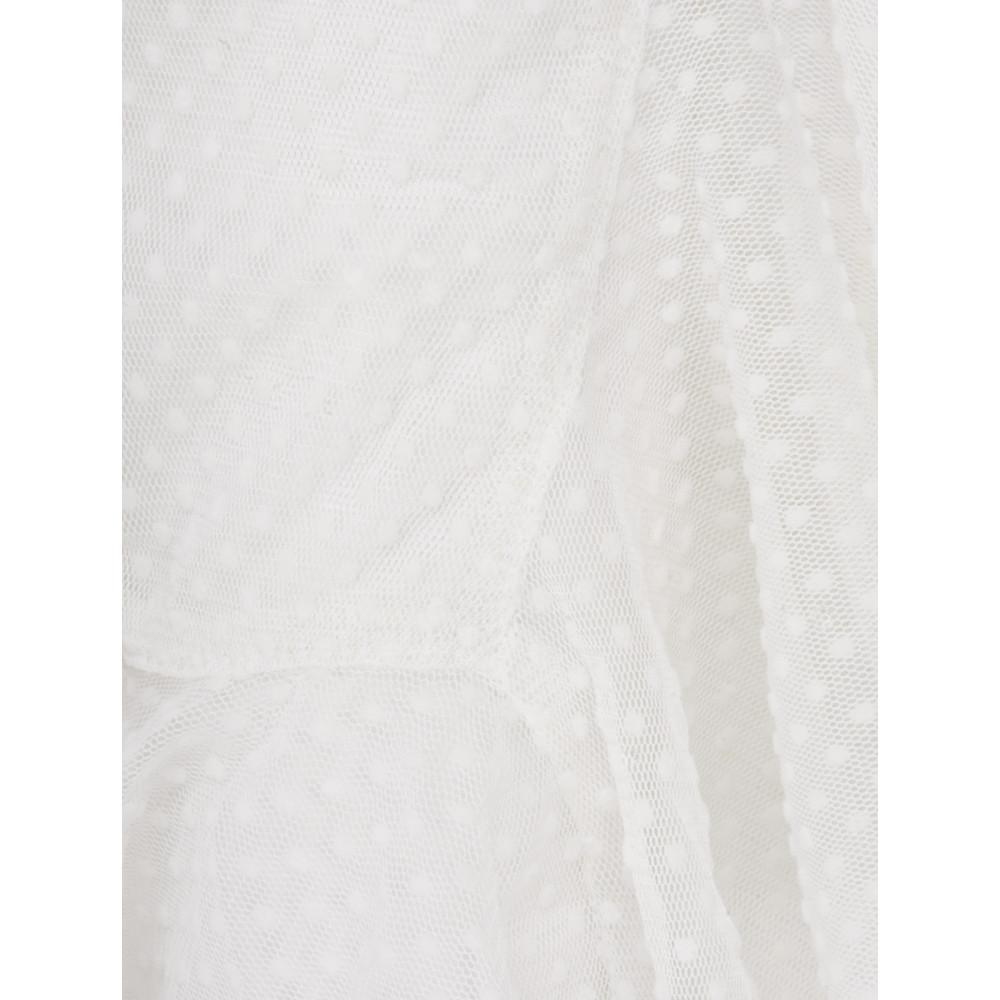 Myti by Myrine Velvet Dot Mesh Ruffle Hem Cardigan 1A- Ivory White