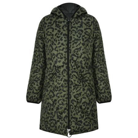 RINO AND PELLE Reversible Animal Print Quilted Arizona Coat - Green