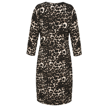 Smashed Lemon Animal Print Wrap Dress - Brown