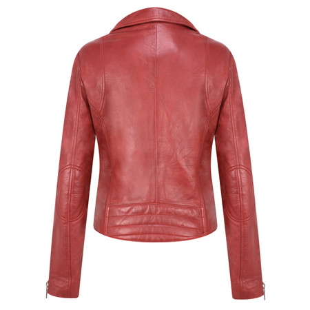 RINO AND PELLE Ghost Biker Style Leather Jacket - Red