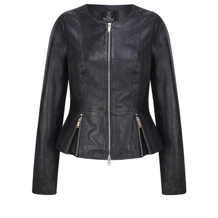 RINO AND PELLE Zip Front Leather Rayla Jacket - Blue