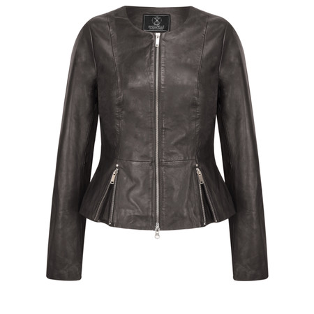 RINO AND PELLE Zip Front Leather Rayla Jacket - Brown