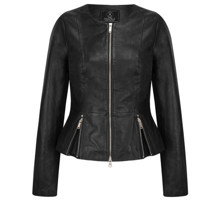 RINO AND PELLE Zip Front Leather Rayla Jacket - Black
