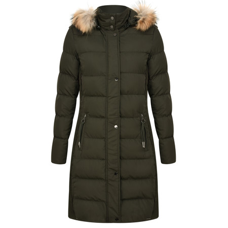 RINO AND PELLE Fur Trim Fitted Cendy Parka - Green