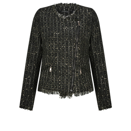 Lauren Vidal Clyde Biker Style Tweed Jacket - Metallic