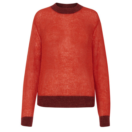 ICHI Ellion Knit Two Tone Jumper - Red