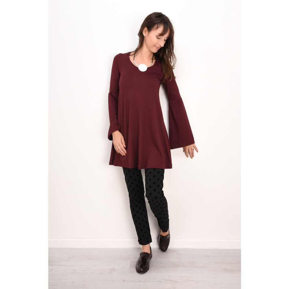 Myti by Myrine Wide Sleeve Jersey Crepe Top 3A-Wine Red