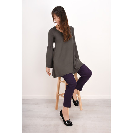Myti by Myrine Wide Sleeve Jersey Crepe Top - Grey