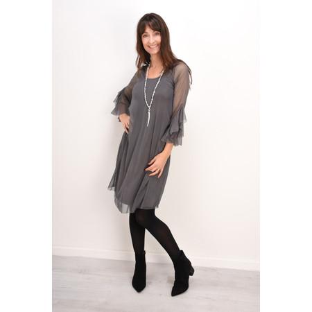Myti by Myrine Velvet Dot Mesh Ruffled Sleeve Dress - Grey