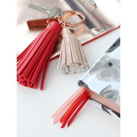 Caroline Gardner Double Tassel Keyring - Red